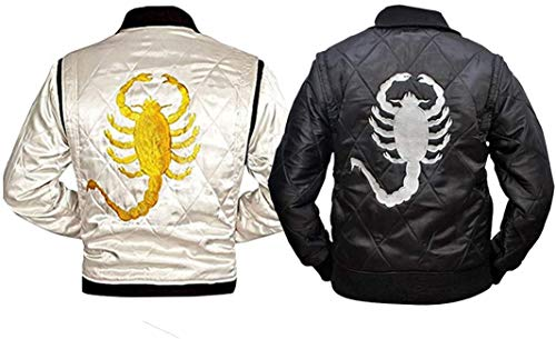 Fashion_First Mens Drive Scorpion Logo Embroidered Black Bomber Satin Jacket