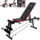 Home Gym Adjustable Weight Bench Foldable Workout Bench Lifting Support, Fitness Equipment, Incline/Decline/Flat Perfect for Bench Press, Sit-ups, Leg Lifts, Full Body Fitness (Black)