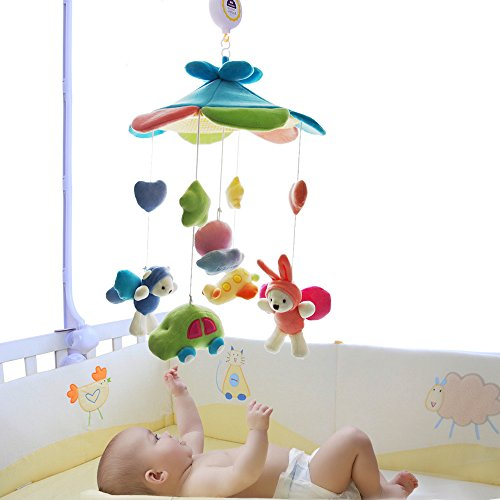 SHILOH Baby Crib Decoration Newborn Gift Plush Musical Mobile (Blue Sky)