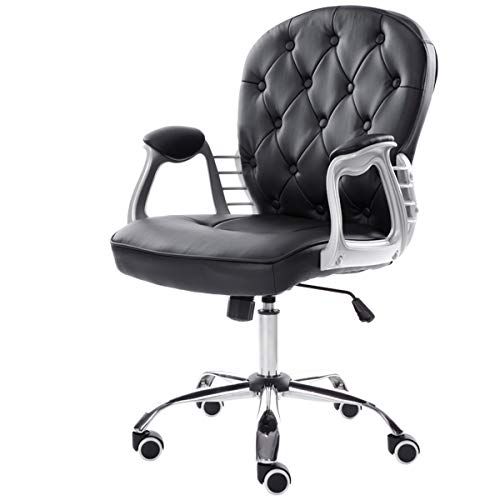 Warmiehomy Premium Pu Leather Computer Chair With Mid Back -Office Chair Adjustable Swivel Velvet Executive Extra Padded Desk Chair