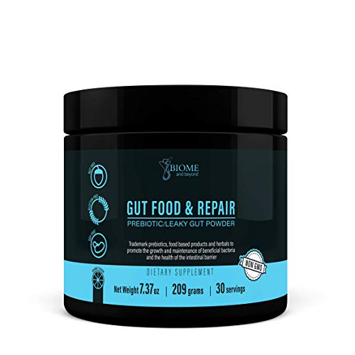 Gut Food and Repair- GI Tract & Leaky Gut Repair Powder with Trademark Prebiotics, Glutamine, Marshmallow Root, Slippery Elm Bark, Colostrum, Livaux & Actazin- Biome and Beyond
