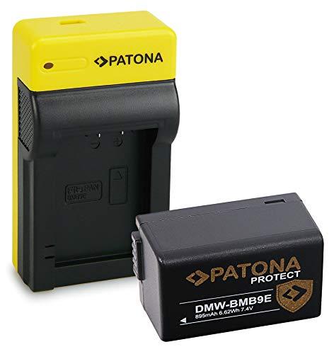 PATONA Estrecho Cargador con Protect Bateria DMW-BMB9E, NTC, Carcasa V1 Compatible con Panasonic Lumix DMC-FZ100 DMC-FZ150