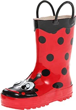 Western Chief Girl s Waterproof Printed Rain Boot with Easy Pull on Handles Lucy The Ladybu 6 M US Toddler