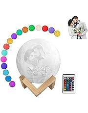 3D Moon Lamp Gepersonaliseerde Stand - Aangepast Maan Licht met Foto en Tekst, 16 Kleuren/2 Kleuren, USB Opladen Maan Nachtlampje voor Kinderen, Verjaardag, Thanksgiving, Kerstmis, Moederdag Geschenken