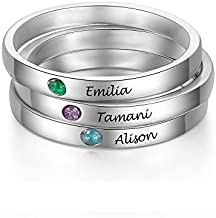 3PCS Personalized Custom Engraved Name Initial Rings with Simulated Birthstones Customized Best Friend Rings for Women Girls (3PCS)