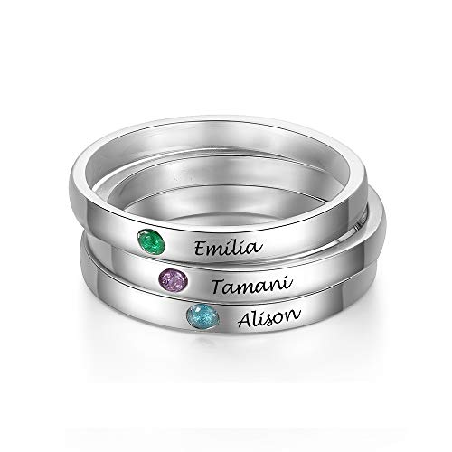 3PCS Personalized Custom Engraved Name Initial Rings with Simulated Birthstones Customized Best Friend Rings for Women Girls