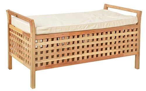 ts-ideen Sitzbank aus massivem Walnuss Holz mit Polster Badmöbel Wäschekorb Truhe