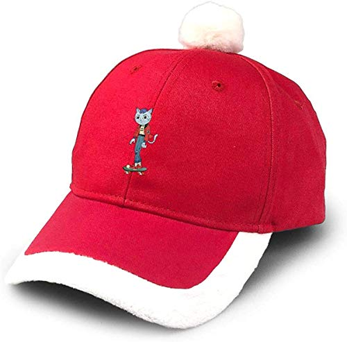 GGdjst Skateboard Cat Cute Baby Nikolausmütze Dad Trucker Santa Hat Red Xmas Weihnachtsmützen Adult Women Men Children Teen Boy Girls Party Decor Gift Decorations Ornament