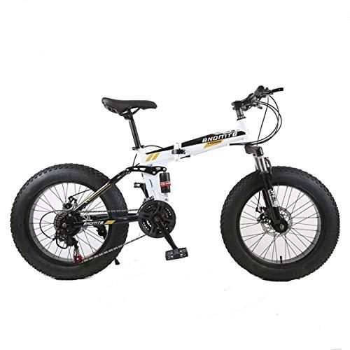 Dapang Mountain Bike, 7/21/24/27/30 Speed Steel Frame, 4.0'Fat Tyres Razze Wheels Sospensione Bici Pieghevole,1,30speed