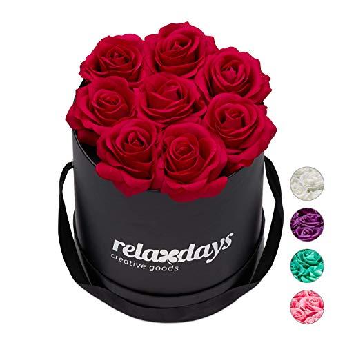 Relaxdays Rosenbox rund, 8 Rosen, stabile Flowerbox schwarz, Lange haltbar, Geschenkidee, dekorative Blumenbox, rot