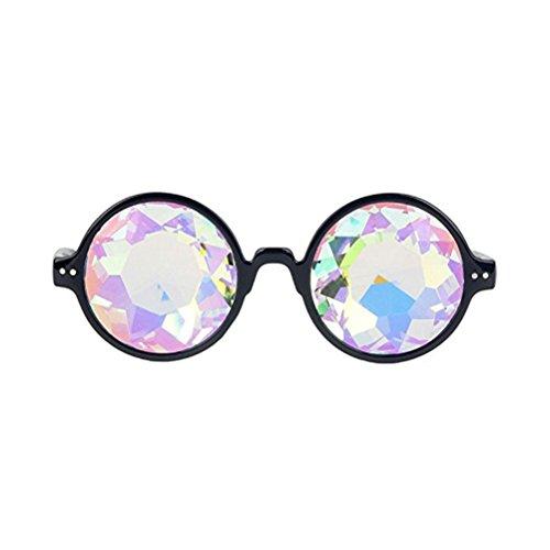 TOYMYTOY Kaleidoskop Gläser Regenbogen Rave Wurmloch Prisma Diffraktion Brille (schwarz)