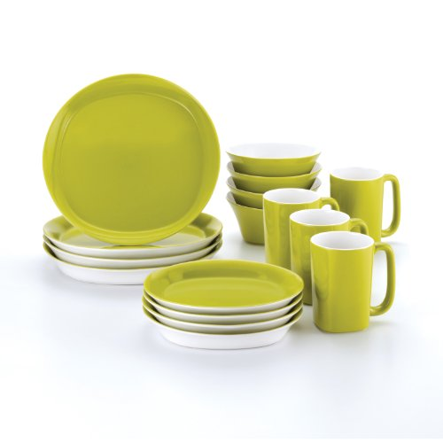 Rachael Ray Round and Square 16-Piece Dinnerware Set, Green