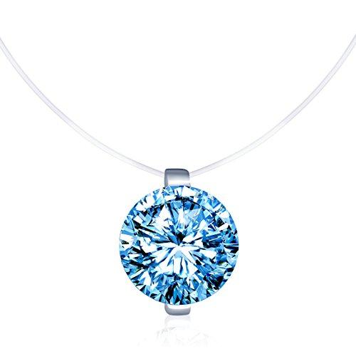 Unendlich U Kreativ Solitär Kette 925 Sterling Silber Blau Zirkonia Damen Halskette Anhänger Transparente Angelleine Nylonkette