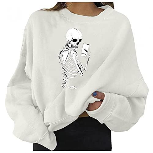 Hanomes Halloween Damen Sweatjacke Skelett Drucken Sweatshirt Jacke Pulli Pullover Casual Pullover Bluse Tops Casual Bluse Tunika Tops Langarm Oberteile