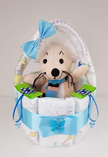 Windeltorte blau, Korb aus Windeln blau, Geburt, Taufe, Geschenk für Jungen, Baby Party, Pampers Gr.3