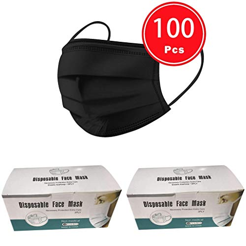 50/100 Stück Anti-Staub mundschutz Kinder, Atmungsaktive gesichtsschutz schwarz mundschutz Deutschland Gesichtsabdeckung für Erwachsene für Camping,Laufen, Radfahren (Schwarz-100)