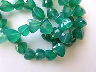 Jewel Beads Natural Beautiful jewellery Green Onyx Faceted Trillion Shaped Beads, Trillion Shaped Green Onyx Faceted Beads, 7mm Each, 10 Inch StrandCode:- JBB-25372