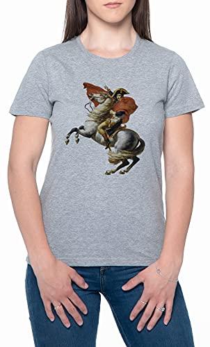 Napoleón En Su Caballo Gris Mujer Camiseta Mangas Cortas Tamaño S Womens T-Shirt Grey Size S