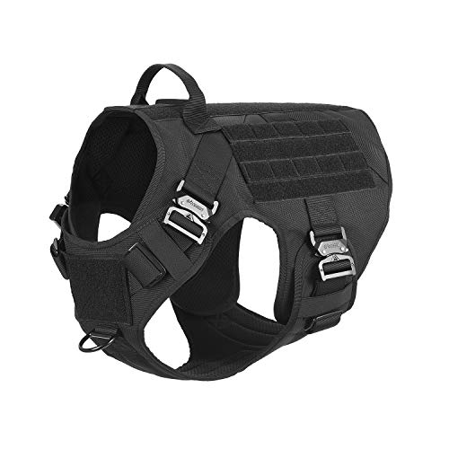 """ICEFANG Tactical Dog Harness with 4X Metal Buckle,Dog MOLLE Vest with Handle,No Pulling Front Clip,Hook and Loop Panel for Dog Custom Patch (XXL (36""""-44"""" Girth), Black)"""