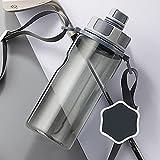 YIXINYOUPIN Botellas de agua deporte Bpa botella de agua caliente con tapa grande a prueba de fugas correa correa para deportes, viajes, camping, botella de agua para niños 1000ml gris