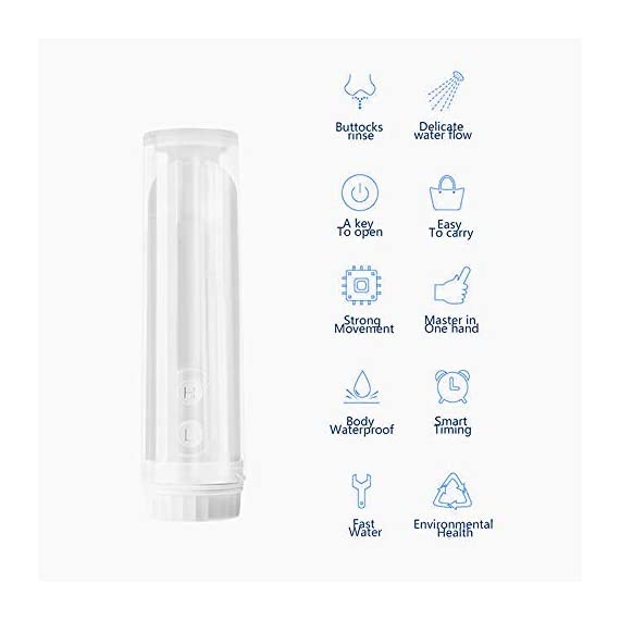 """Meidong Portable Travel Bidet Sprayer Handheld Personal Bidet Easy-to-use Electric Bidet with Decompression Film and 180… 2 💕【Easy to Use and Stay Clean】Remove the cover and fill it with water, then invert, point, press the H / L key to start working according to your needs.180 degrees rotary nozzle, which can be manually adjusted freely. Two washing modes: """"L"""" is gentle, """"H"""" is strong, meet your different needs 💕【Extreme Experience】Our portable travel bidet Providing a new refreshing experience,No more harsh toilet paper,can make you feel comfortable and clean whenever you using it, which gives you a spotless out-of-the shower feeling,A gentle form of personal hygiene 💕【Portable and Ideal for Travel】Compact handheld size make it easily to carry and enough to fit in your backpack, baggage.portable bidet is perfect for personal care hygiene refresher at home, office, on vacation, travel and more"""