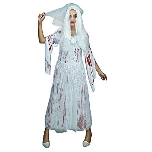 ZAOWEN Disfraz De Halloween Disfraz De Mujer Fantasma Vestido De Novia De Cadáver De Mujer Disfraz De Cosplay Disfraz De Halloween Novia