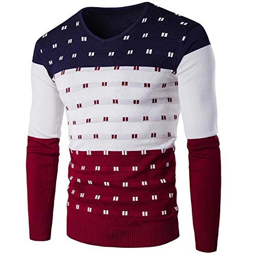 Hathaway-store Sweater Men Pullover Sweater Male Round Neck Patchwork Slim Fit Knitting Mens Sweaters Pullover Men,Navy Blue,L