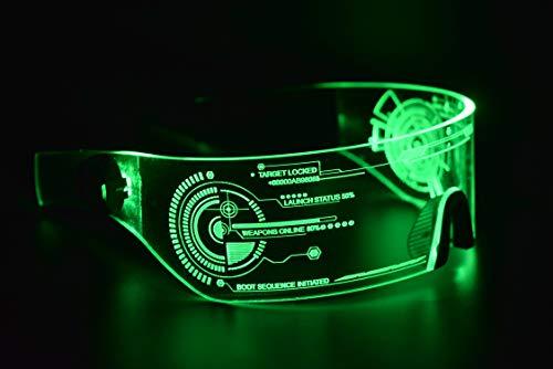 ASVP Shop Cyberpunk Sonnenbrille mit LED-Beleuchtung, perfekt für Cosplay und Festivals, Cybergoth (Grün)
