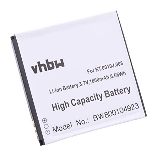 vhbw Akku 1800mAh (3.7V) für Smartphone, Handy, Handy Acer Liquid E2, Liquid E2 Duo, V370 wie JD-201212-JLQU-C11M-003, KT.0010J.008.