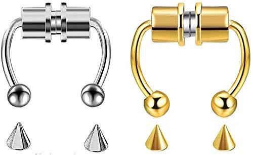 Chagoo 2021 Neue Edelstahlimitat-Septumringe, Alloy Fake Magnetic Horseshoe Non Piercing Hoop (Golden + Silber)