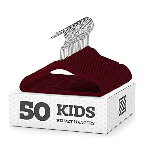 """ZOBER Premium Kids Velvet Hangers (14"""" Inch - 50 Pack) Nonslip..."""