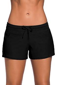 Aleumdr Women s Swim Boardshort Bottom Shorts Swimming Panty Medium Black