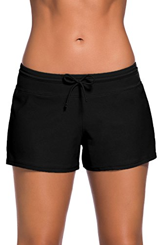 FIYOTE Women Sports Summer Bottom Slit Swim Beach Board Shorts (M, Black)