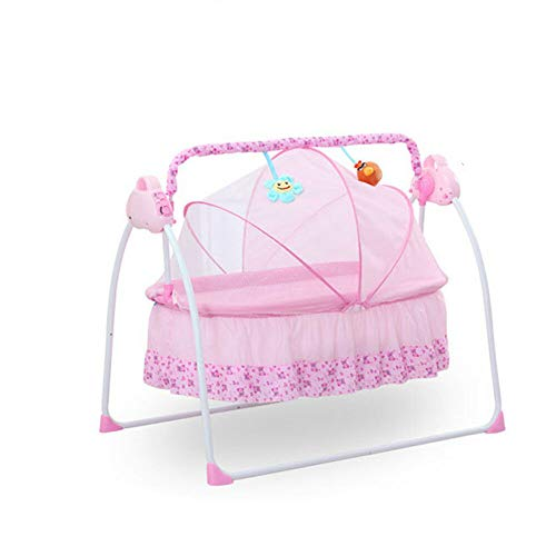 Baby Electric Auto-Swing Bed, Skin Friendly Fabric Infant Rocker Cot with Remote Control,Newborns Sleep Bed with Intelligent Music Mp3 Play and Protective Mosquito Nets,Load Weight 0-25Kg(Pink) (Pink)