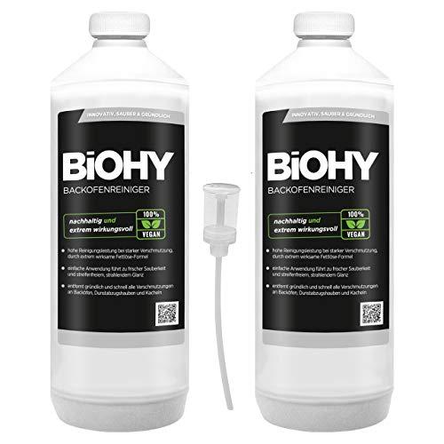 BIOHY ovenreiniger sterk geconcentreerd 2 x 1 liter flessen + doseerer- grillreiniger, vetoplosser voor eenvoudige en snelle ovenreiniging - geheel zonder schrobben