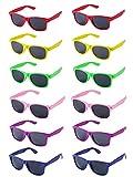 LFYXCW Paquete de 12 Gafas de Sol de Fiesta de Colores Retro Vintage para Adulto (6colores)