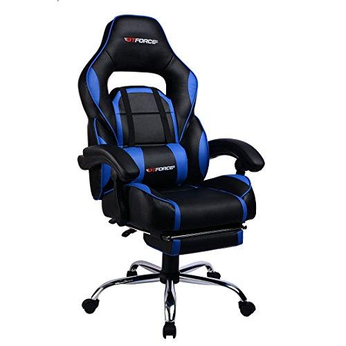 GTFORCE PACE - Silla gamer reclinable para el ordenador - Ideal para casa y el trabajo - Cuero sintetico - Azul