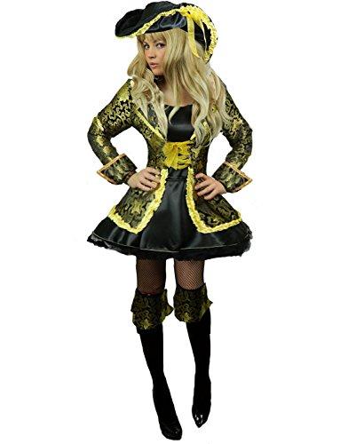 Yummy Bee - Edles Piraten Karneval Fasching Kostüm Damen + Hut Schwert Entermesser Musketier Größe 34 - 46 (40)