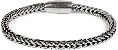 styleBREAKER Zopfketten Armband mit Magnetverschluss, Kette, Schmuck, Damen 05040132, Farbe:Silber/Schwarz