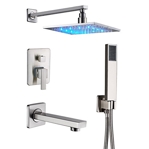 """Senlesen Brushed Nickel Rain Mixer Shower Combo Set Wall Mounted 3 Way Shower System with 12"""" LED Light Rainfall Shower Head Handheld Shower and Tub Spout Faucet"""
