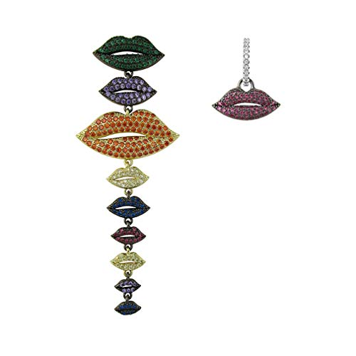 YAZILIND asimétrico colgante pendientes exagerados labios sexy largo colgante gota pendiente fiesta joyería(#2)