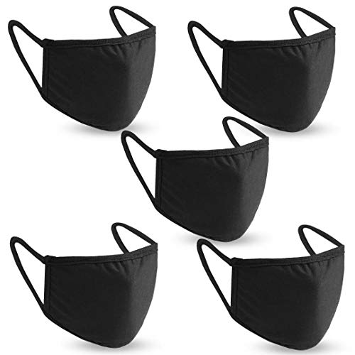 Face Mask Reusable Pack of 5 Washable Black Dust Cotton Masks Face Protection Cover with Pocket