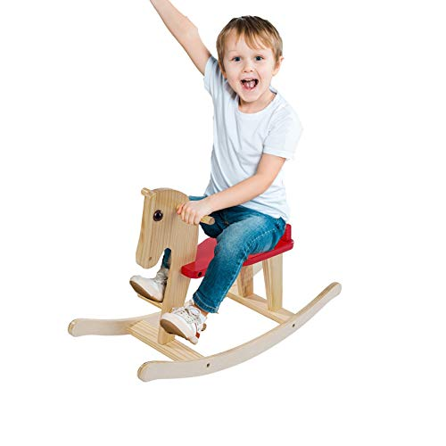 Fan-Ling Baby Rocking Trojan, Wooden Trojan for 1-3 Year Old, Kid Rocking Animal for Infant Boy&Girl, Toddler/Child Ride On Toy, Nursery Trojan Rocking Chair for Outdoor&Indoor, Birthday Gift