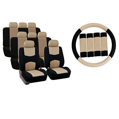 TLH 편평한 피복 좌석은 결합 3 줄 8SEATERS 베이지 색깔 승 | 스티어링 휠 덮개 및 안전 벨트 패드를 포함합니다