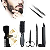 TWSOUL Beard Filling Pen Kit, Beard Pencil Filler Kit for Men, Waterproof Long Lasting Natural Looking Mens Beard Shaper Tool, Effectively Enhance Facial Hair (Black, 5 pcs Set)