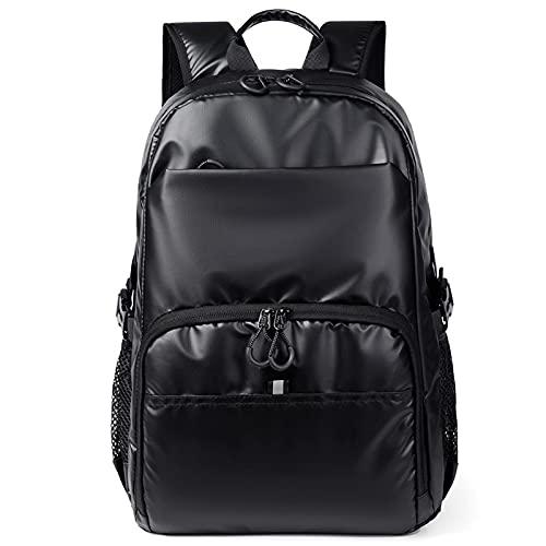 QIANJINGCQ Bolsa de computadora de gran capacidad para hombres de moda y versátil, diseño de color sólido, bolsa de viaje de ocio con carga USB reflectante, mochila