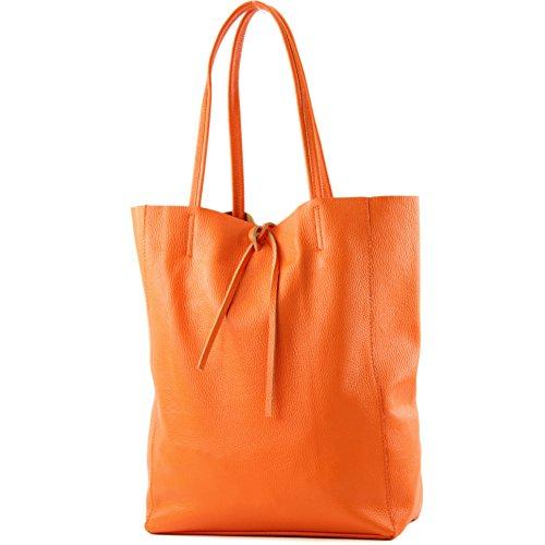 modamoda de - T163 - Ital. Shopper Large mit Innentasche aus Leder, Farbe:Orange