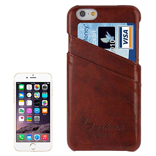 H-HX Case Leather Deluxe Retro PU Leather Case met kaartsleuven met Mode Logo for iPhone 6 Plus & 6S Plus (donkerblauw), bruin