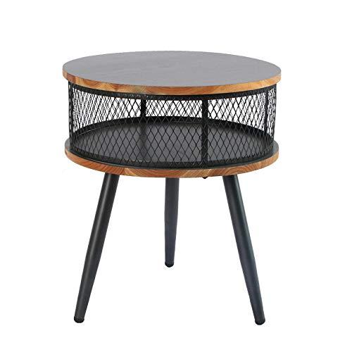 YTSFT eindtafel massief hout salontafel retro kantoor woonkamer bank kant eenvoudig te monteren opslag kleine ronde tafel nachtkastje thee tafel Zwart
