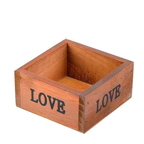 Table Storage Box Case vierkante houten Flower Plant Pot Vetplant Vaas Plant Containers balkon tuin Planter Home Decoration Ornamenten Craft 9,8 * 9,8 * 5 cm coffee pot